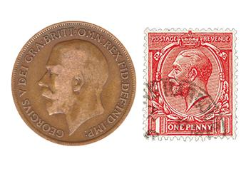 George V Coin and Stamp