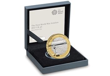 WWI Aviation 2017 UK Silver Proof 2 Pound Coin In Display Case