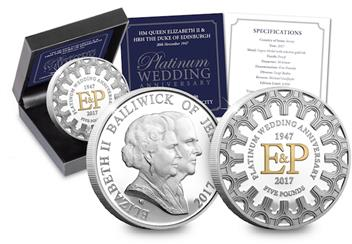 Platinum Wedding Anniversary Five Pound Proof Coin