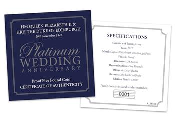Platinum Wedding Anniversary Five Pound Proof Coin Certificate