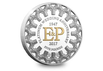 Platinum Wedding Anniversary Five Pound Proof Coin Reverse