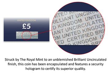 The Platinum Wedding UK Certified BU £5 Coin Hologram