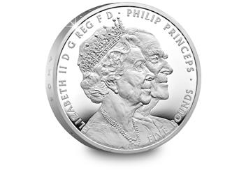 The Platinum Wedding UK £5 Silver Proof Reverse