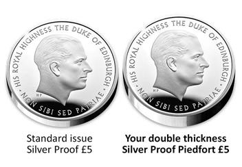 Prince Philip UK Piedfort Comparison Image 2
