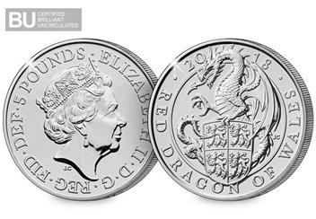 Change-Checker-UK-2018-Queens-Beasts-Dragon-of-Wales-BU-Five-Pound-Coin-Obverse-Reverse