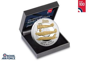 RAF Centenary Five Pound Proof Coin in Display Case