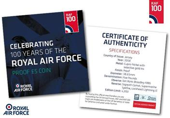 RAF Centenary Five Pound Proof Coin Certificate