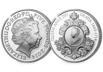 Queen Anne Silver Proof 5 Pound Coin Obverse Reverse