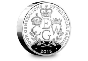 UK 2018 Four Generations Of Royalty Silver Proof Piedfort Five Pound Coin Reverse