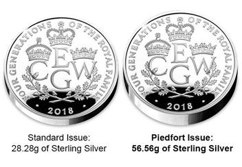 UK 2018 Four Generations Of Royalty Silver Proof Piedfort Five Pound Coin Comparison