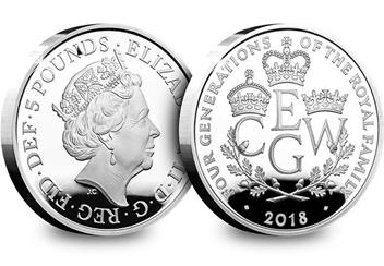 UK 2018 Four Generations Of Royalty Silver Proof Five Pound Coin Obverse Reverse