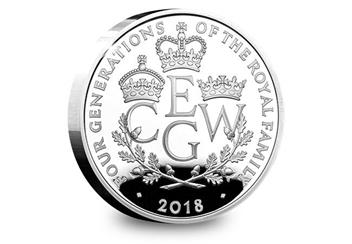 UK 2018 Four Generations Of Royalty Silver Proof Five Pound Coin Reverse