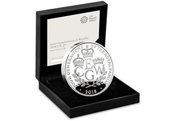 UK 2018 Four Generations Of Royalty Silver Proof Five Pound Coin In Display Case