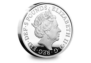 UK 2018 Four Generations Of Royalty Silver Proof Five Pound Coin Obverse