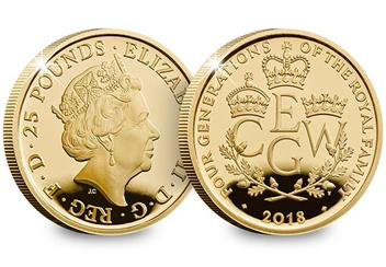 UK 2018 Four Generations Of Royalty Gold Proof 1 4Oz Coin Obverse Reverse
