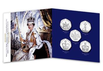 Sapphire Coronation Fifty Pence Coin Set Pack Inside