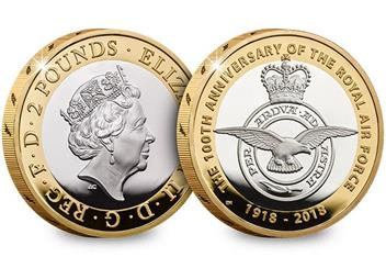 UK 2018 RAF 100Th Badge Silver Proof Two Pound Coin Obverse Reverse