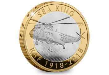 UK 2018 RAF 100Th Sea King Silver Proof Two Pound Coin Reverse