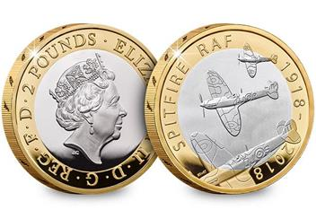 UK 2018 RAF 100Th Spitfire Silver Proof Two Pound Coin Obverse Reverse