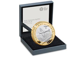 UK 2018 RAF 100Th Spitfire Silver Proof Two Pound Coin In Display Case