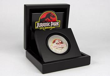 Jurassic Park Silver Coin in Display Case