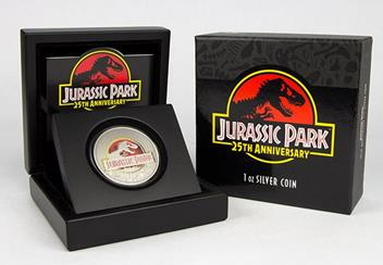 Jurassic Park Silver Coin in Display Case with box