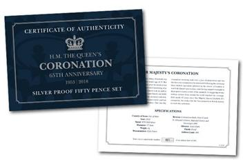 Coronation 65Th Silver Proof Fifty Pence Coin Set Certificate