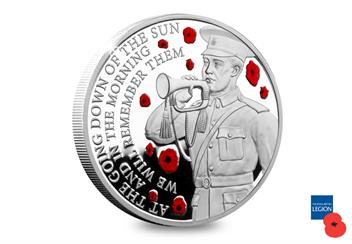Wwi Armistice 100Th Guernsey Silver Proof For 5 Coin Reverse