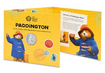 Uk 2018 Paddington Bear Station Cuni Bu 50P Coin In Royal Mint Pack Front