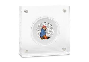 Uk 2018 Paddington Bear Station Silver Proof 50P Coin In Acrylic