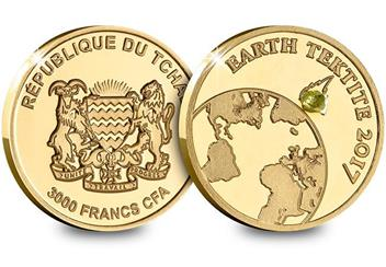 2017 Earth Tektite Gold Proof Coin Obverse Reverse