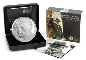 Uk 2015 Churchill Silver Proof Five Pound Coin In Outer Boxes