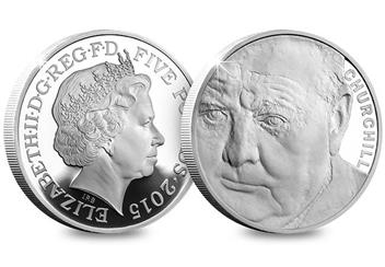 Uk 2015 Churchill Silver Proof Five Pound Coin Obverse Reverse