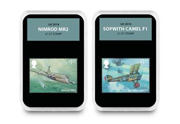Raf Centenary Ultimate Box Set Commemorative Stamp And Coin Set Nimrod And Sopwith Camel