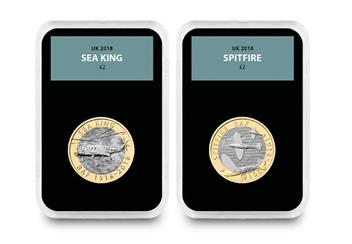 Raf Centenary Ultimate Box Set Commemorative Stamp And Coin Set Sea King And Spitfire