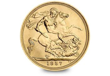 Uk 1957 Mary Gillick Gold Sovereign Reverse