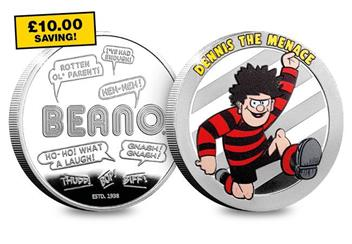 Dn Beano 80Th Silver Plated Medal Collection Dennis Product Images Yellow Flash