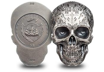 2018 Day Of The Dead Antique Silver Skull Shaped Coin Obverse Reverse