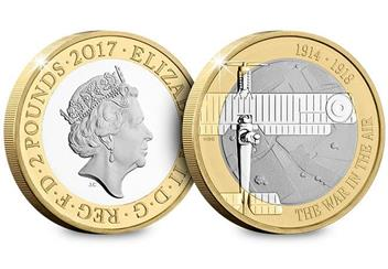 Uk 2017 Wwi Aviation Cuni Proof Two Pound Coin Obverse Reverse