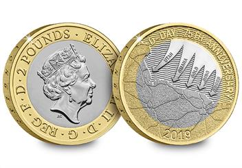 2019 Certified Bu D Day 2 Pound Coin Product Images Obverse Reverse