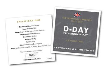 D Day 75Th Cuni Proof Five Pound Coin Cert