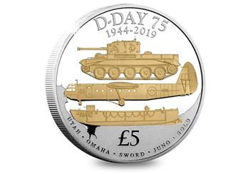 D Day 75Th Cuni Proof Five Pound Coin Reverse