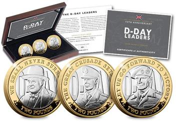 D Day 75Th Leaders Iom Silver Proof Two Pounds Three Coin Set