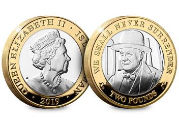 D Day 75Th Leaders Iom Silver Proof Two Pounds Three Coin Set Churchill