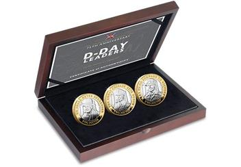 D Day 75Th Leaders Iom Silver Proof Two Pounds Three Coin Set In Display Case