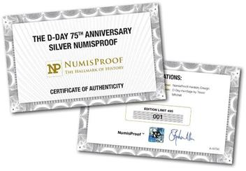 Numisproof D Day 75Th 2Oz Silver Proof Commemorative Certificate