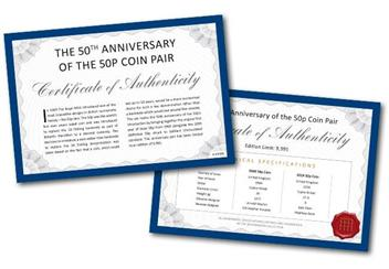 50Th Anniversary Of The 50P Coin Pair Certificate