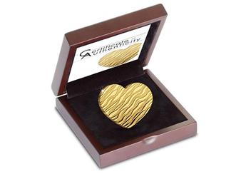 Heart Shaped Little Treasure Gold Coin In Display Case