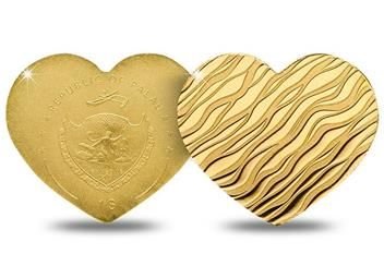 Heart Shaped Little Treasure Gold Coin Obverse Reverse
