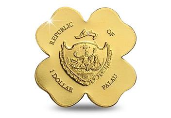 Four Leaf Clover Shaped Gold Coin Obverse